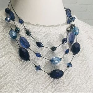 Multi layered 3 strand blue bead necklace NY